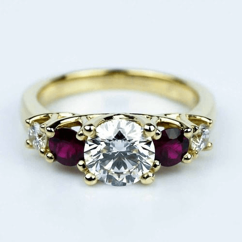 Trellis Ruby and Diamond Engagement Ring in Yellow Gold