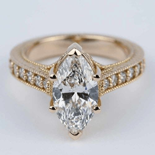 Hand-Carved Milgrain Marquise Diamond Engagement Ring
