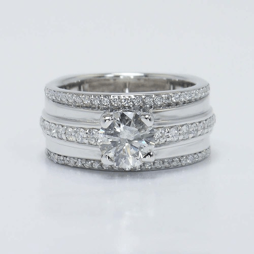 Three Row Pave Diamond Engagement Ring