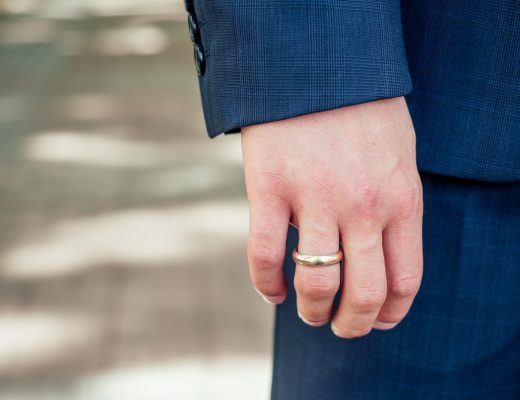 Closeup of Man wearing wedding ring