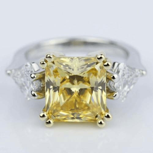 Fancy Yellow Radiant Engagement Ring with Kite Shaped Diamonds