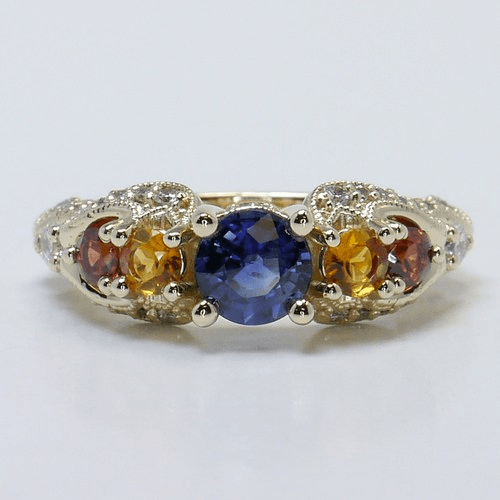 Vintage Swirl Diamond and Sapphire Gemstone Ring