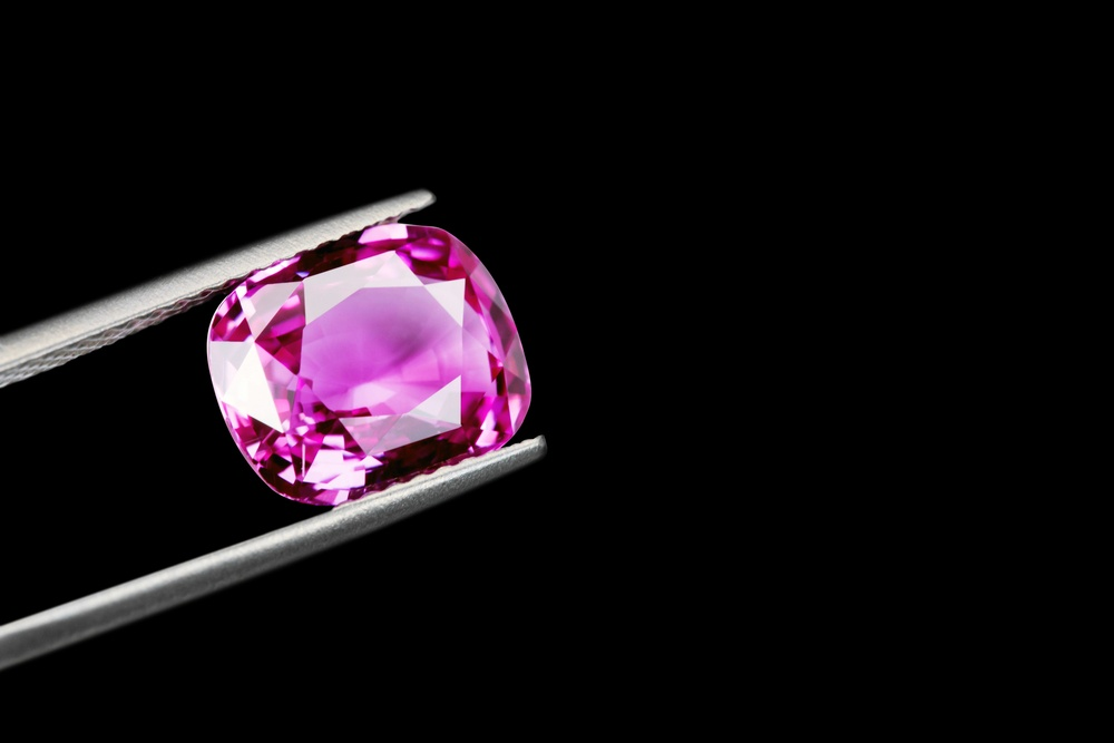 A loose pink sapphire