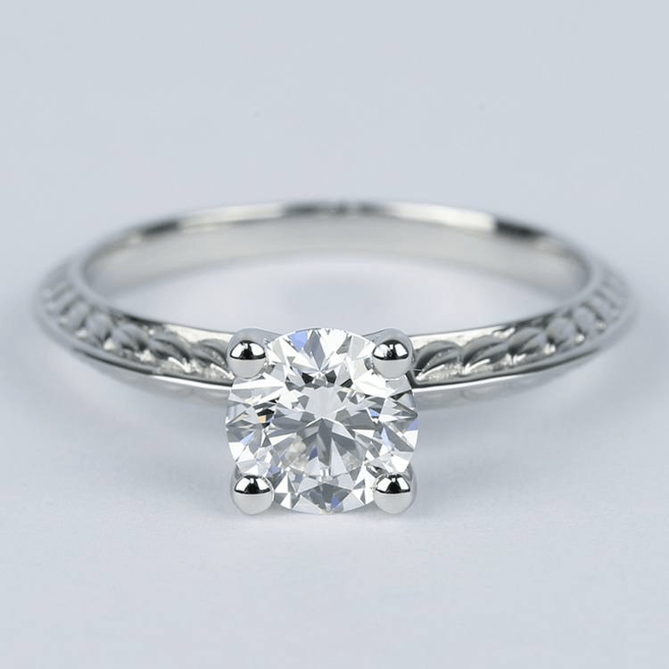 Antique Floral Knife Edge Diamond Engagement Ring