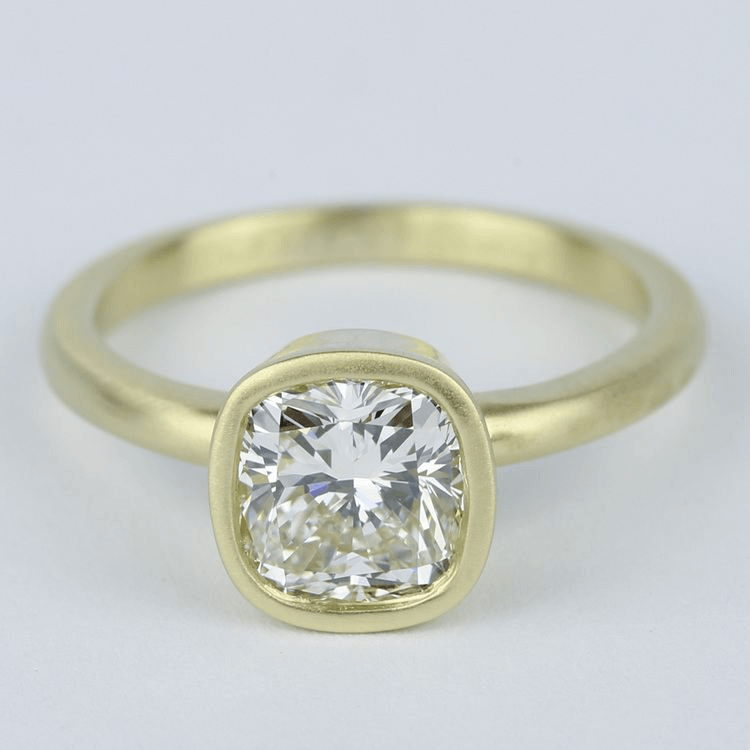Bezel-Set Cushion Diamond Ring with Satin Finish