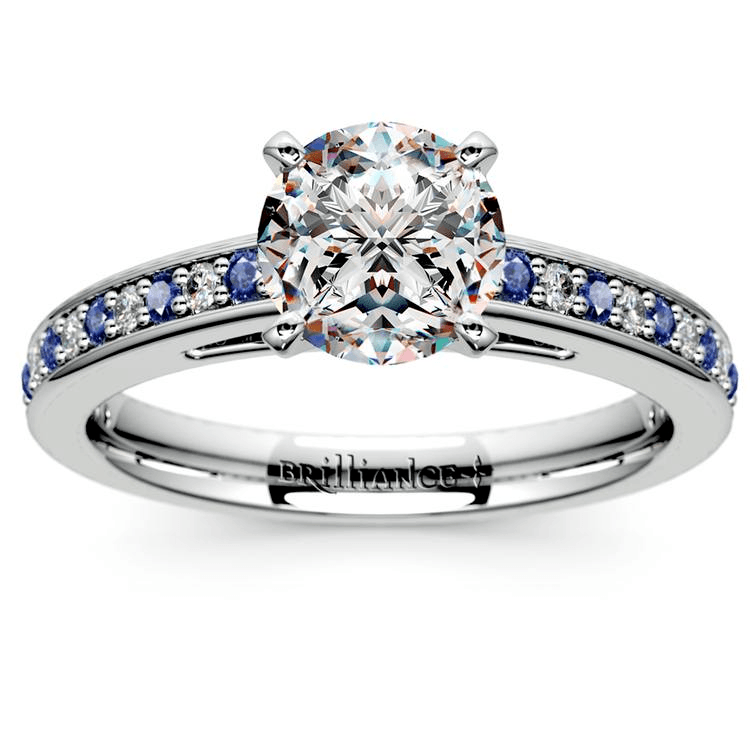 Cathedral Diamond & Sapphire Gemstone Ring in Platinum