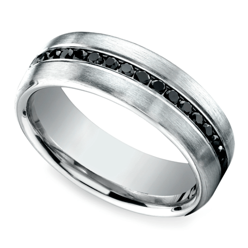 Channel Black Diamond Men's Eternity Band in Platinum