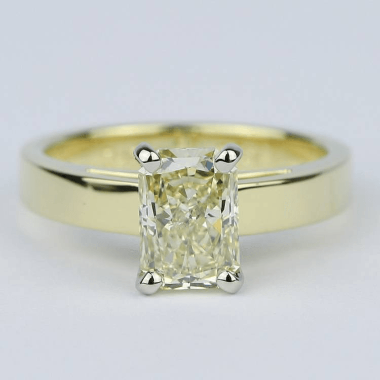 Fancy Yellow Radiant Diamond with 18K Yellow Gold Solitaire