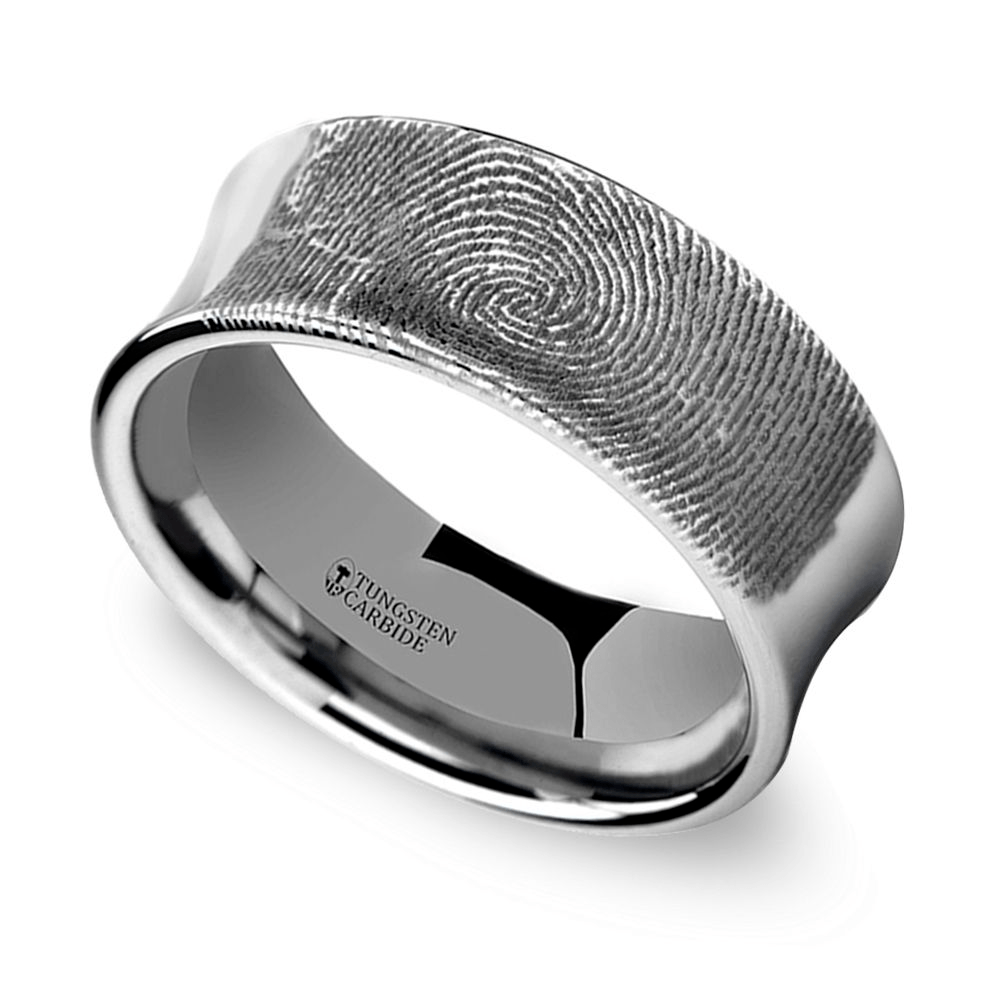 Fingerprint Engraved Men's Wedding Ring In Tungsten