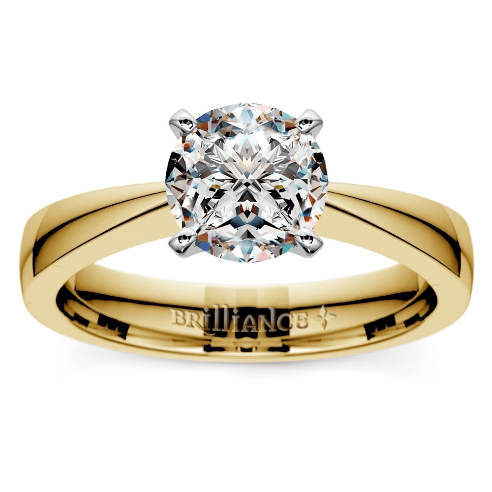 Flat Taper Solitaire Engagement Ring In Yellow Gold