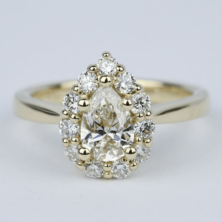 Floral Halo 1.20 Carat Pear Diamond Engagement Ring