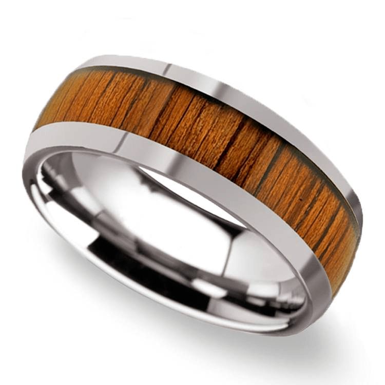 Koa Wood Inlay Men's Domed Wedding Ring In Tungsten