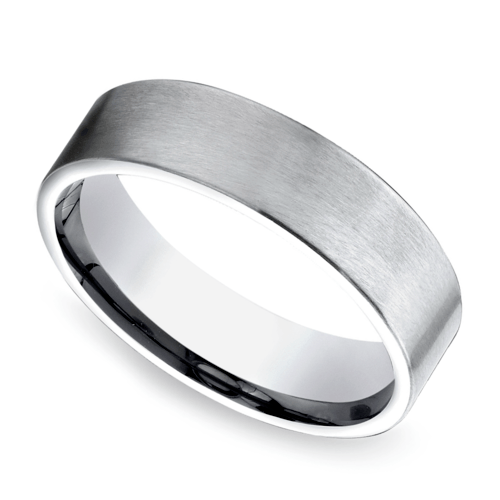 Satin Men's Wedding Ring in Platinum