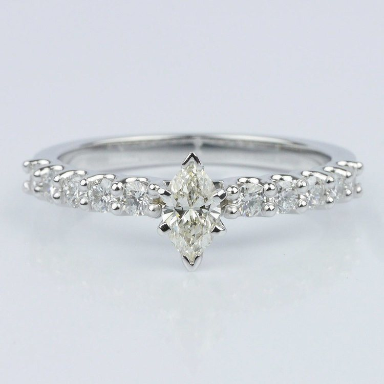 U-Prong Marquise Diamond Engagement Ring