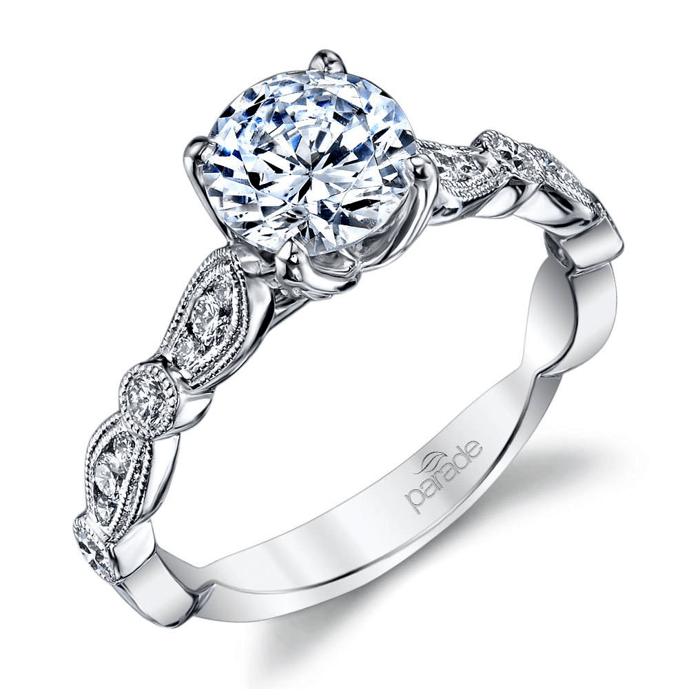 Vintage Style Cathedral Diamond Engagement Ring