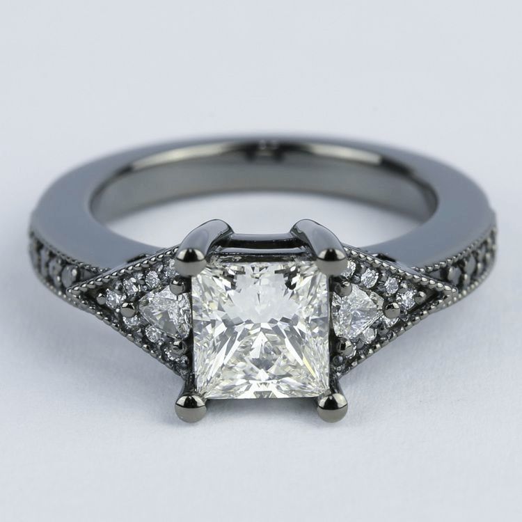 Custom Princess Diamond Engagement Ring in Black Gold