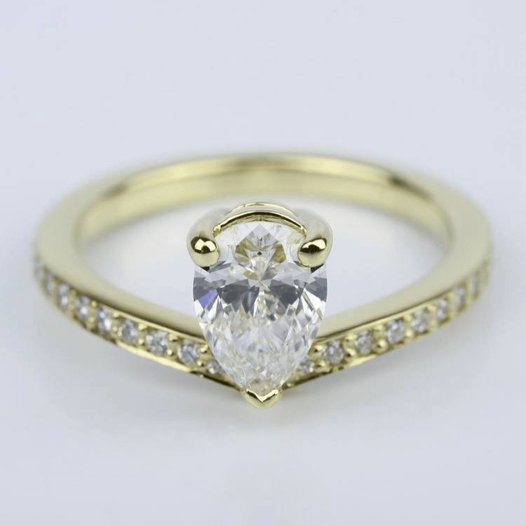 Custom Tear Drop Pear Diamond Engagement Ring