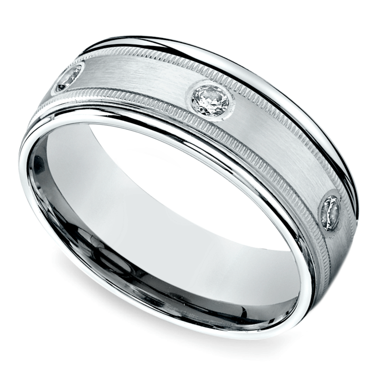 Diamond Eternity Milgrain Men's Wedding Ring in Palladium