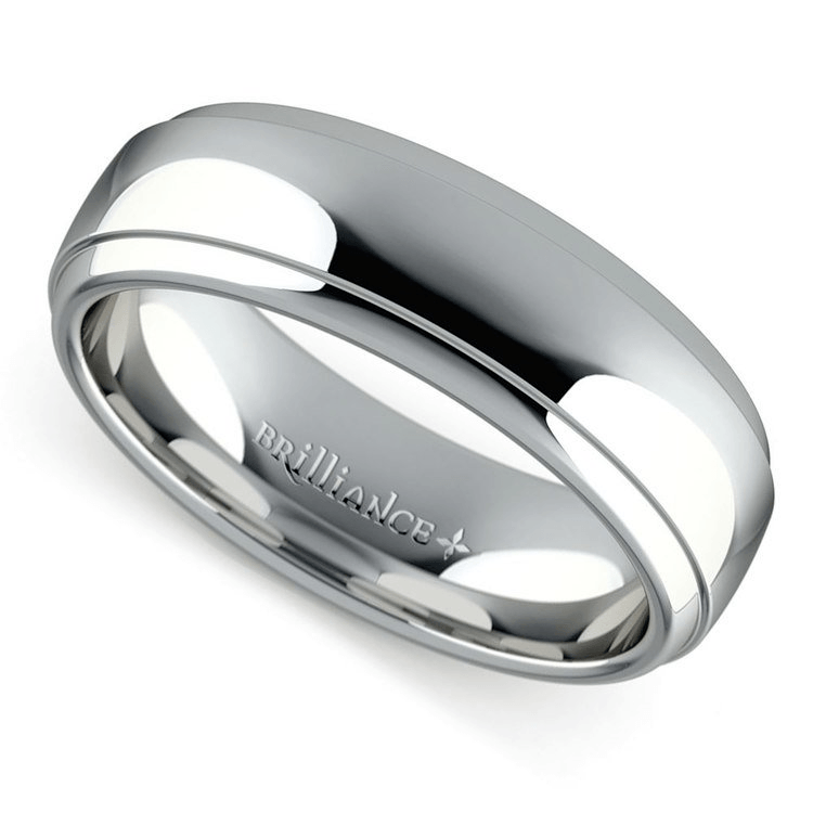 Domed Step Edge Men's Wedding Ring in Platinum