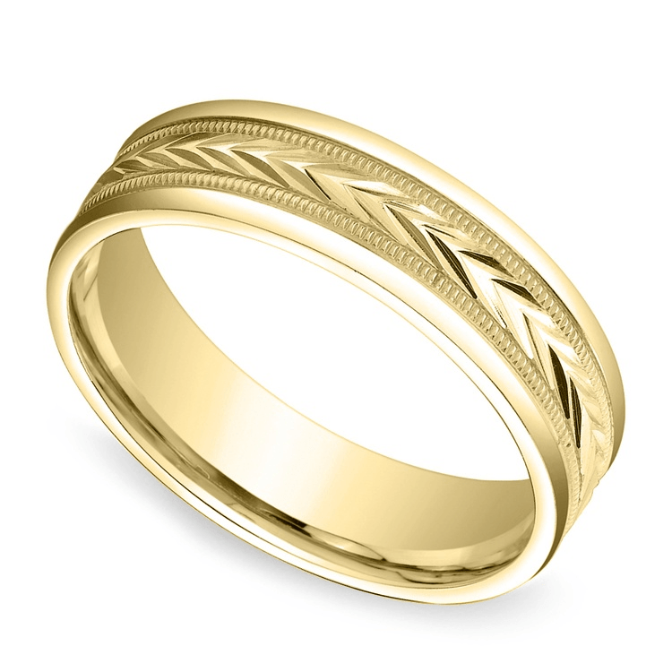 Harvest Milgrain Men's Wedding Ring in Yellow Gold