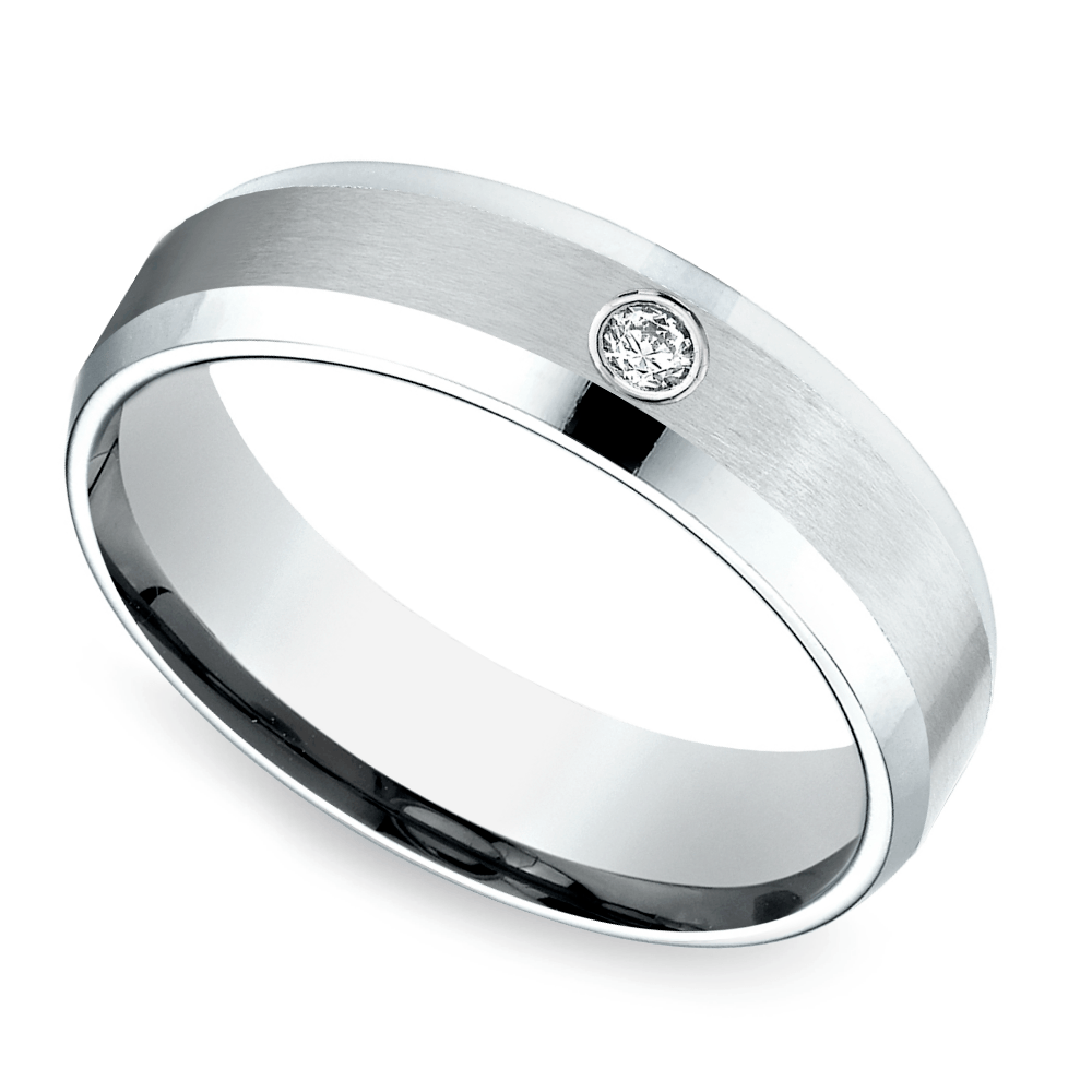 Inset Beveled Men's Wedding Ring in White Gold
