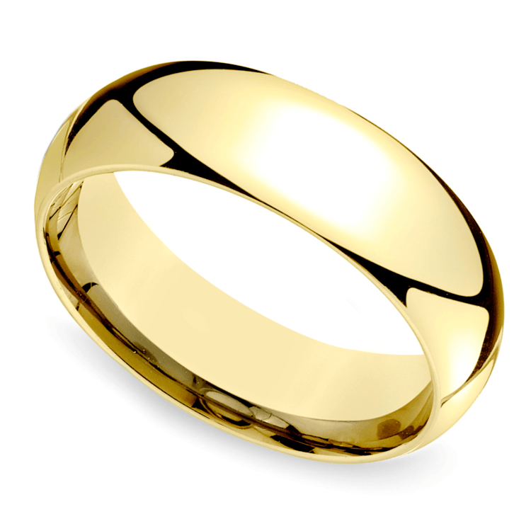 Mid-Weight Men's Wedding Ring in Yellow Gold