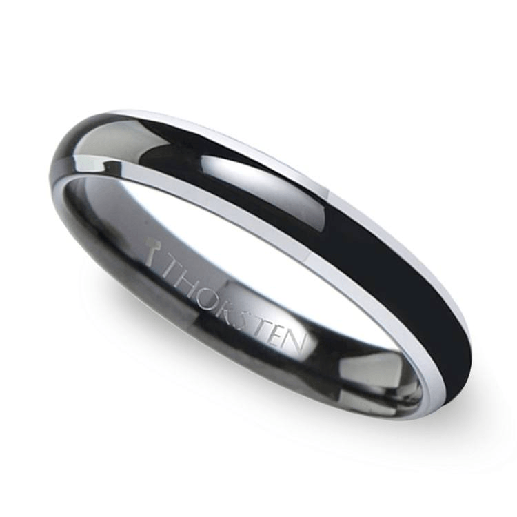 Polished Bevel Edge Wedding Ring in Black Tungsten