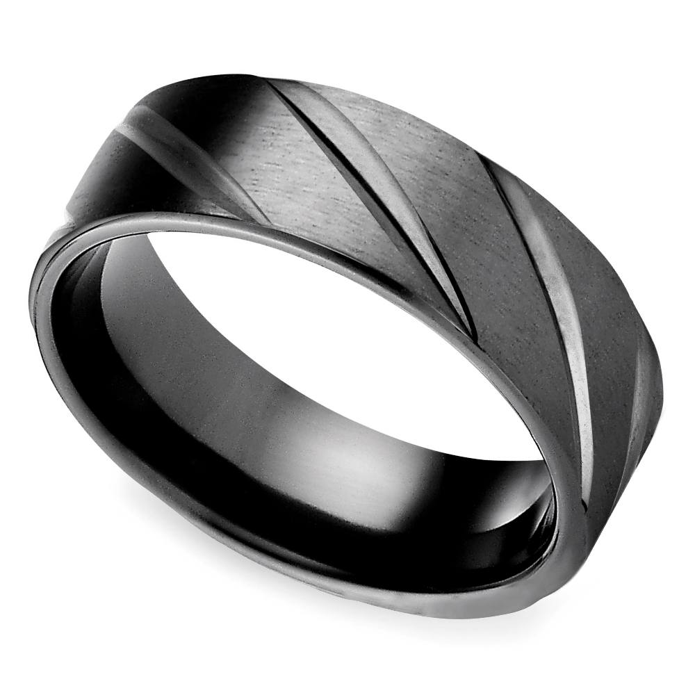 Swirl Pattern Men's Wedding Ring In Black Titanium