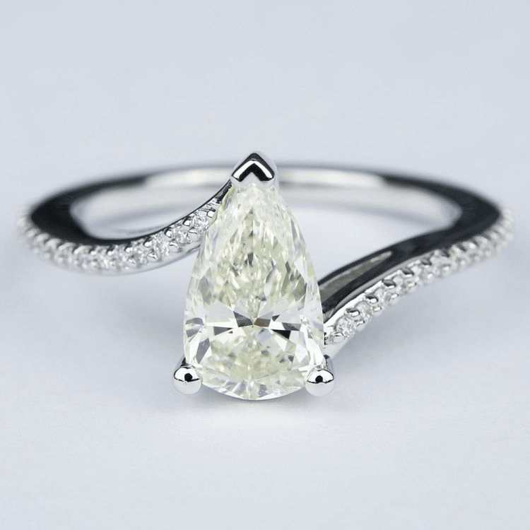Swirl Style Pear Diamond Engagement Ring