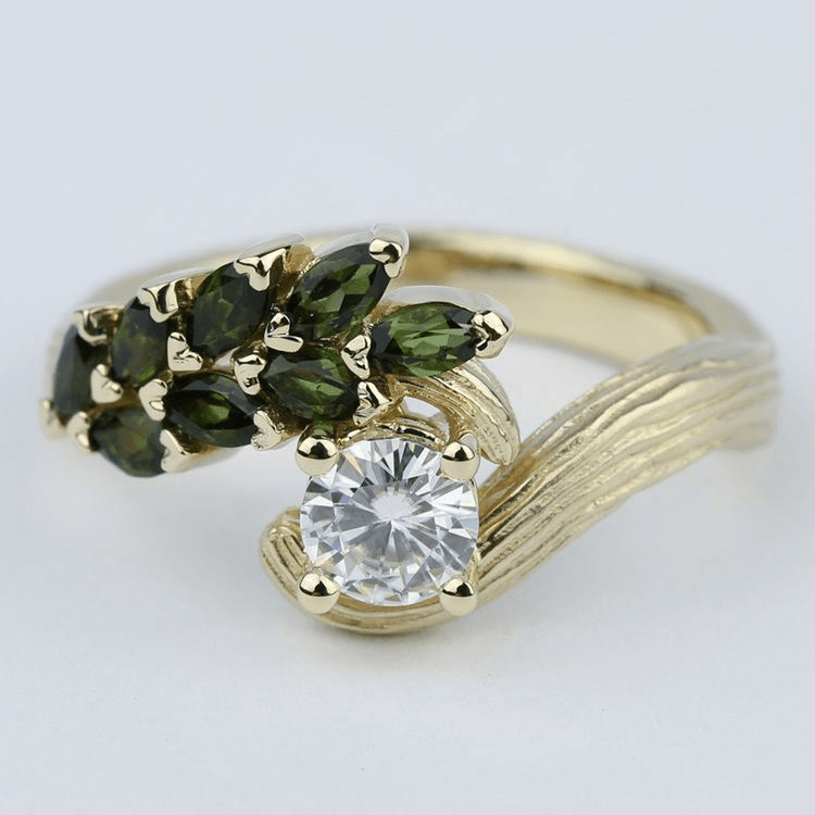 Tree Inspired Engagement Ring with Hand-Engraved Bark Finish