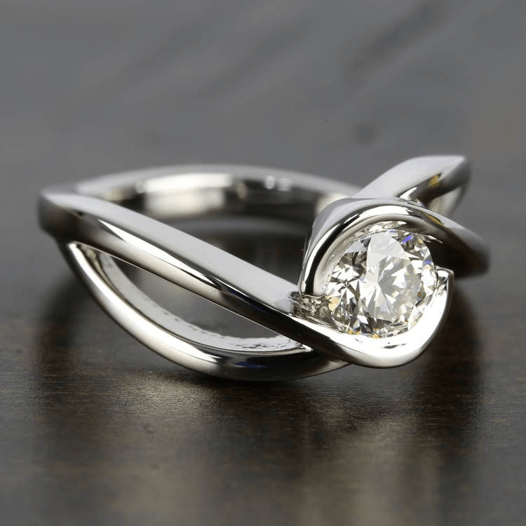 Bypass Engagement Ring with .75 Carat Round Diamond