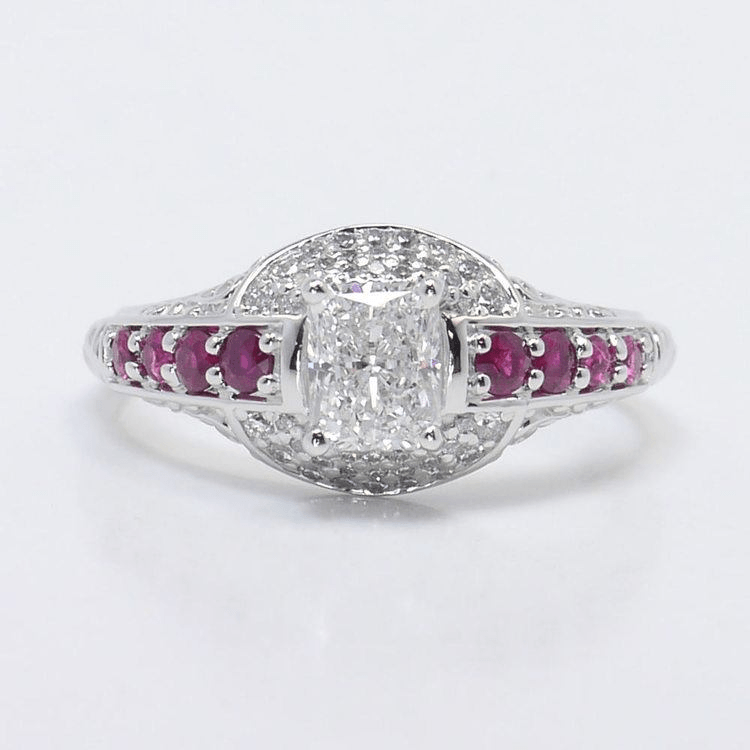 Antique Halo Radiant Cut Diamond and Ruby Ring