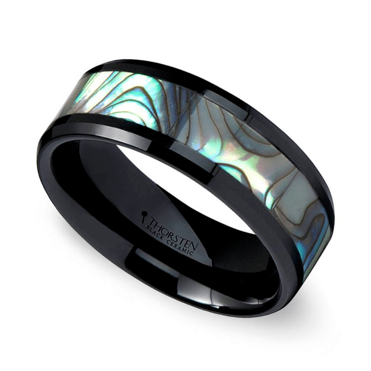 Beveled Men's Wedding Ring With Shell Inlay In Black Ceramic