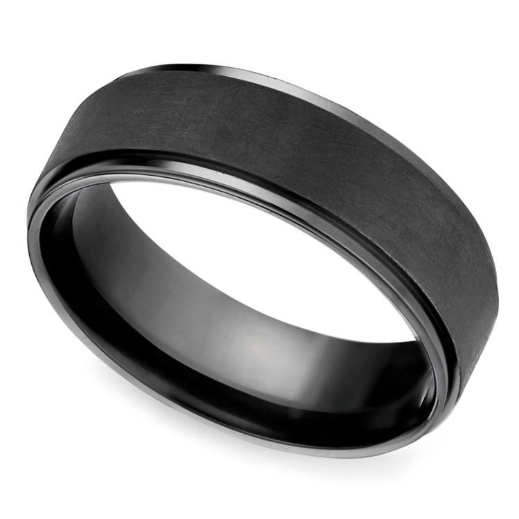 Beveled Pattern Men's Wedding Ring in Black Titanium