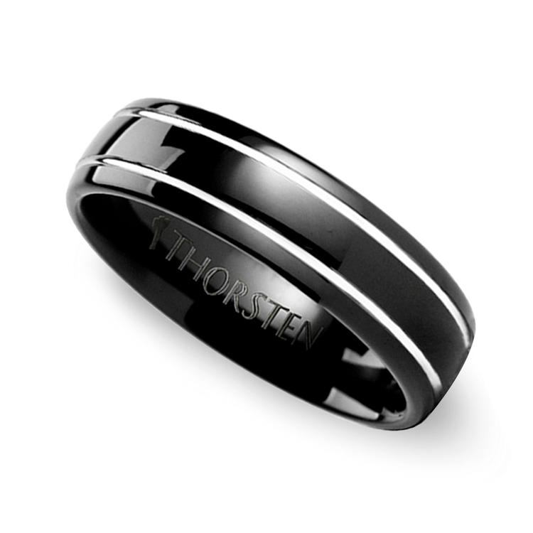Black Domed Men's Wedding Ring with White Grooves in Tungsten
