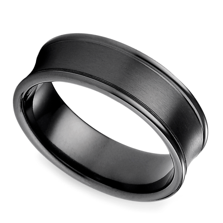 Concave Men's Wedding Ring in Black Titanium