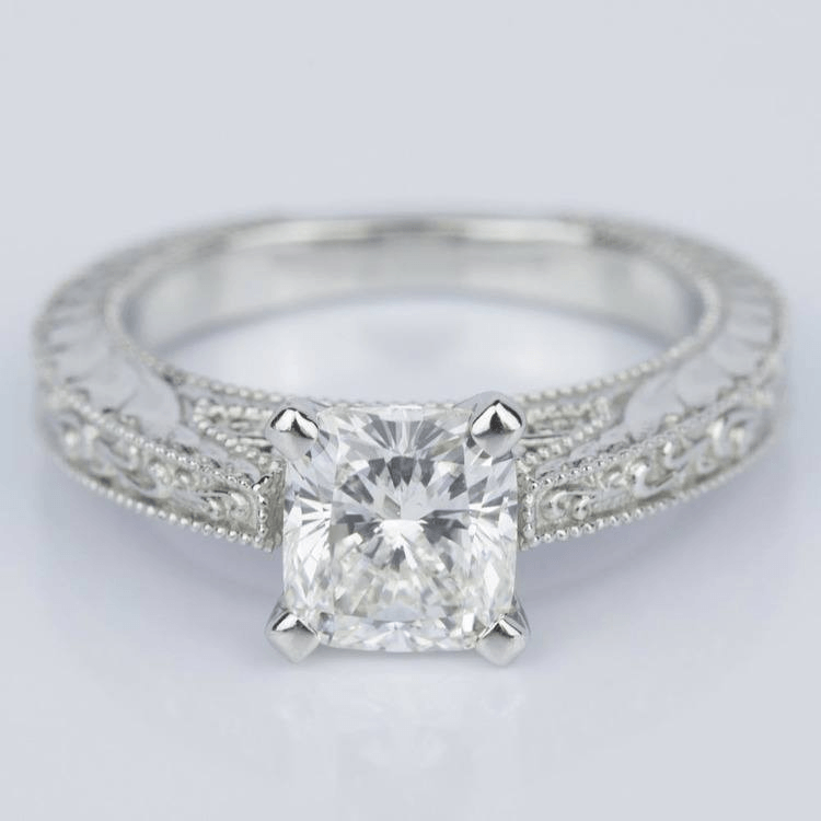 Custom Vintage Floral Engagement Ring with Milgrain in Platinum