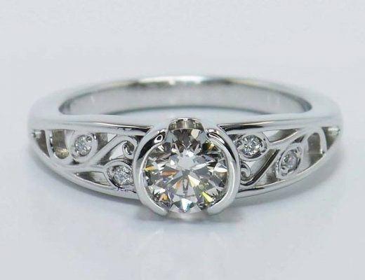 Leaf Filigree Diamond Engagement Ring