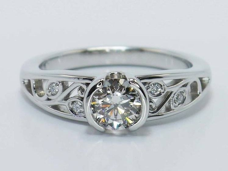 Leaf Filigree Diamond Engagement Ring