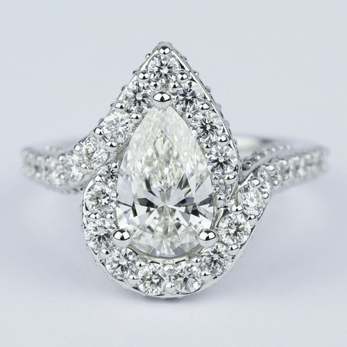 Halo 1.81 Carat Pear Diamond Engagement Ring with Vintage Detail