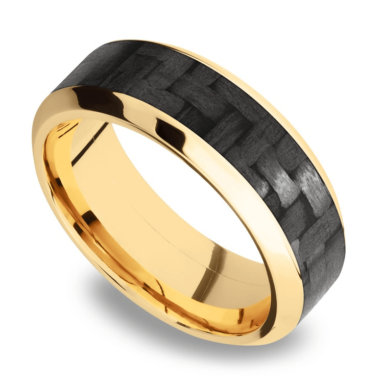 High Bevel Carbon Fiber Inlay Men's Wedding Ring In 14K Yellow Gold