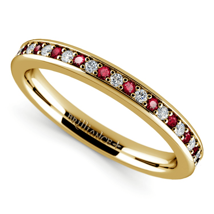 Pave Diamond & Ruby Wedding Ring in Yellow Gold