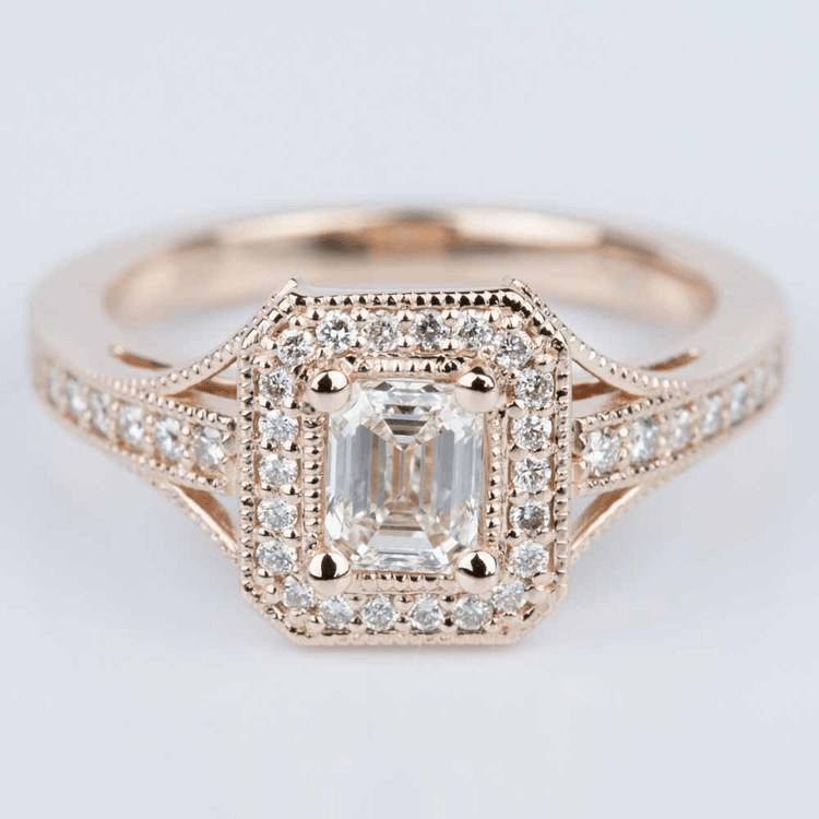 Vintage Milgrain Halo Diamond Engagement Ring in Rose Gold