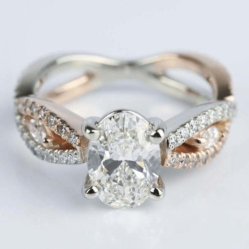 Two-Tone Custom Oval Engagement Ring with Pink Diamonds