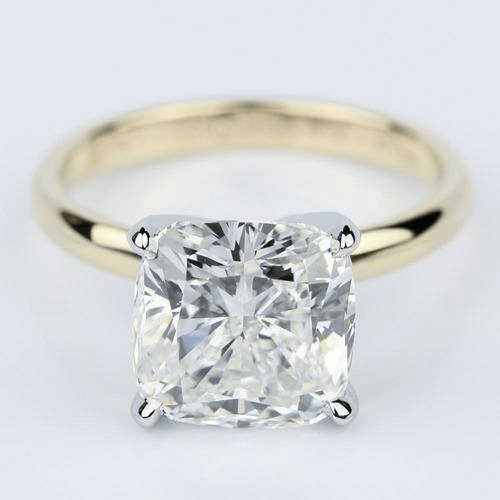 Yellow Gold C 4.70 Carat Cushion Cut Solitaire Engagement Ring