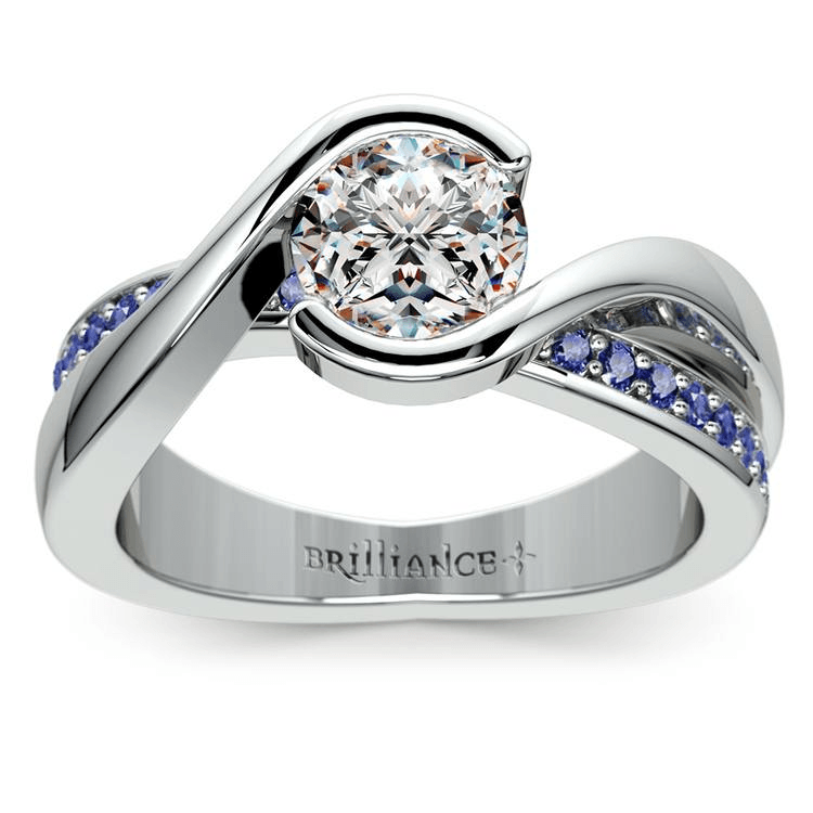 Bezel Sapphire Gemstone Bridge Engagement Ring in White Gold