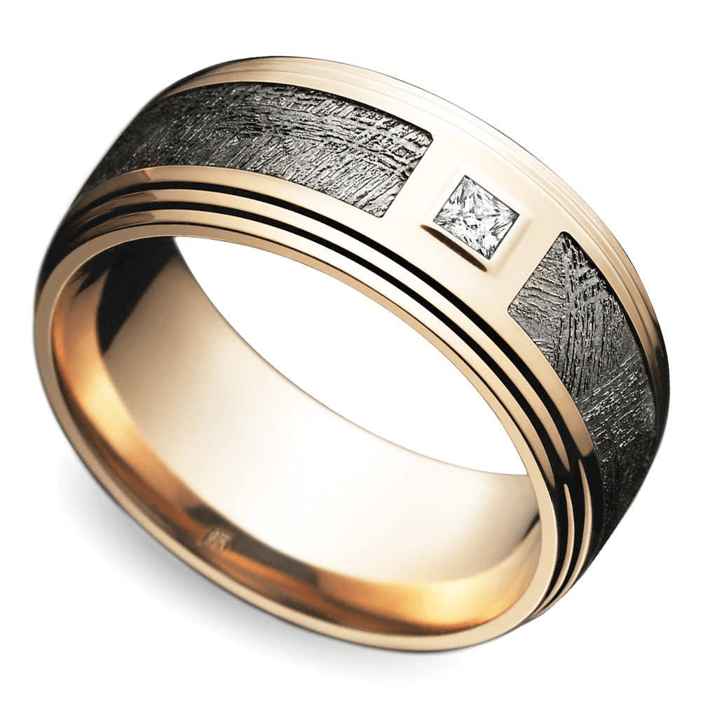 Grooved Edge Diamond Men's Wedding Ring with Gideon Meteorite Inlay In Rose Gold