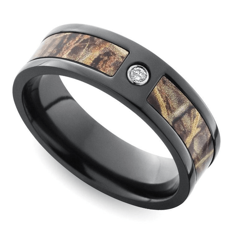 Inset Diamond Men's Ring With Camo Inlay In Zirconium