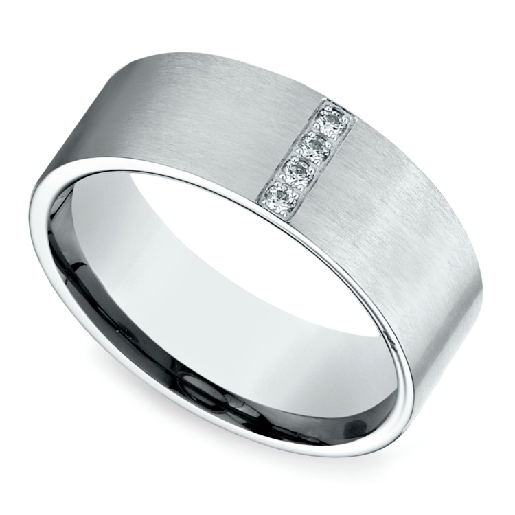 Pave Men's Wedding Ring In White Gold