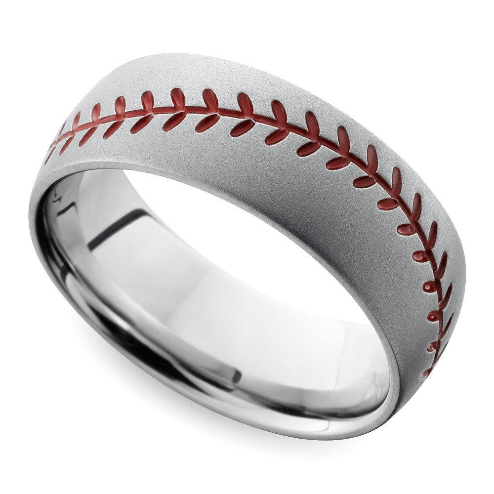 Beadblasted Baseball Pattern Men's Wedding Ring In Cobalt